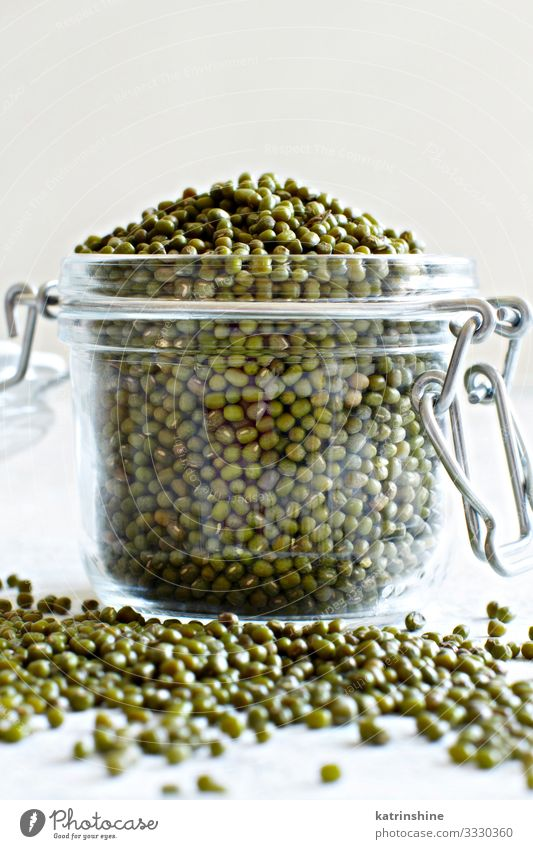 Dried mung beans in a glass jar Vegetarian diet Diet Table Green White Beans fiber food health healthy Ingredients Kidney legume Vegan diet Raw Mung dal