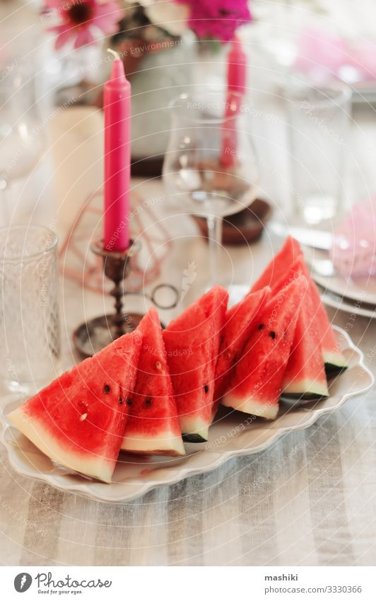 fresh watermelon slices served on summer party. Lunch Dinner Banquet Plate Cutlery Elegant Summer Garden Decoration Table Restaurant Feasts & Celebrations