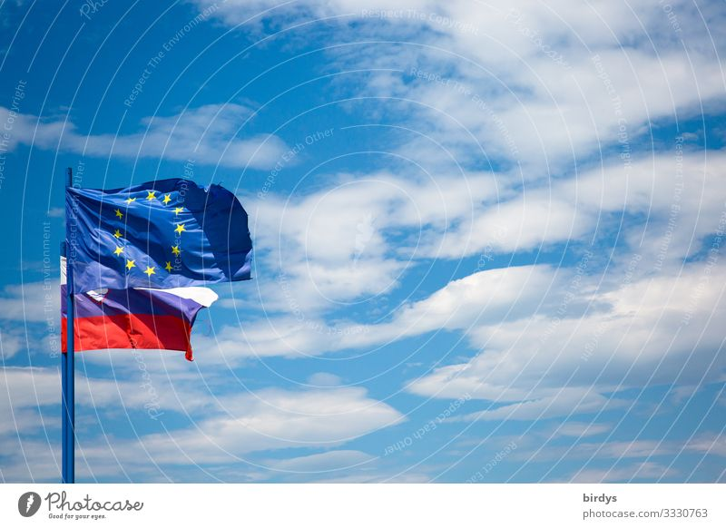 EU flag in Slovenia Sky Clouds Beautiful weather Wind Europe Sign Flag Authentic Free Positive Blue Yellow Red White Contentment Self-confident Trust