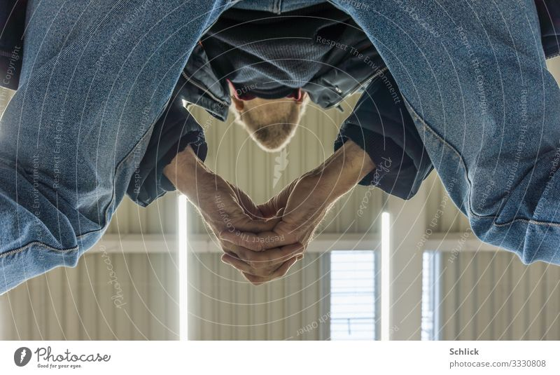 waiting Masculine Male senior Man Hand Fingers 1 Human being 45 - 60 years Adults Wait Blue Black White Serene Patient Calm Interlocked Ceiling Observe