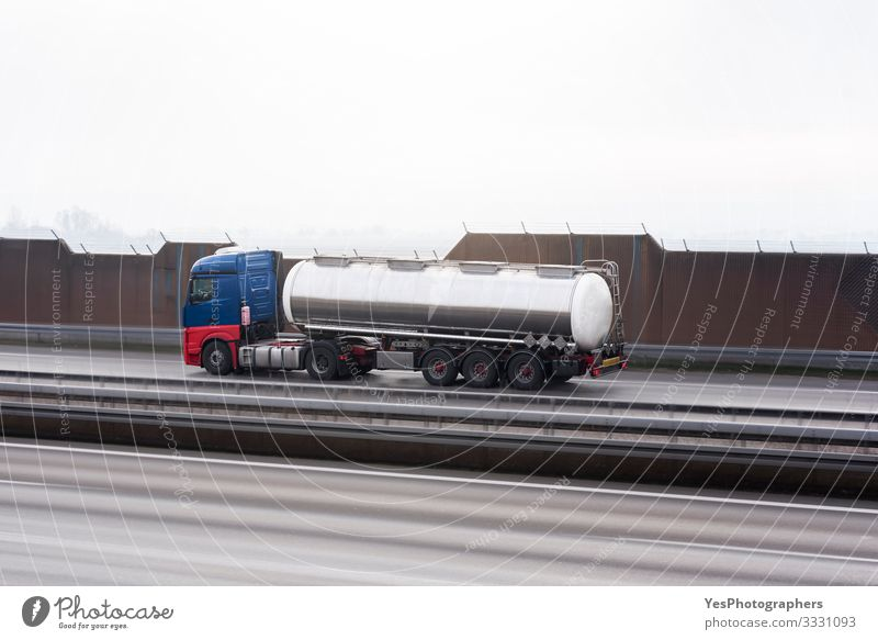 Cistern in motion on a highway. Fast speed tank. Selective focus Logistics Transport Traffic infrastructure Road traffic Street Highway Vehicle Truck Container