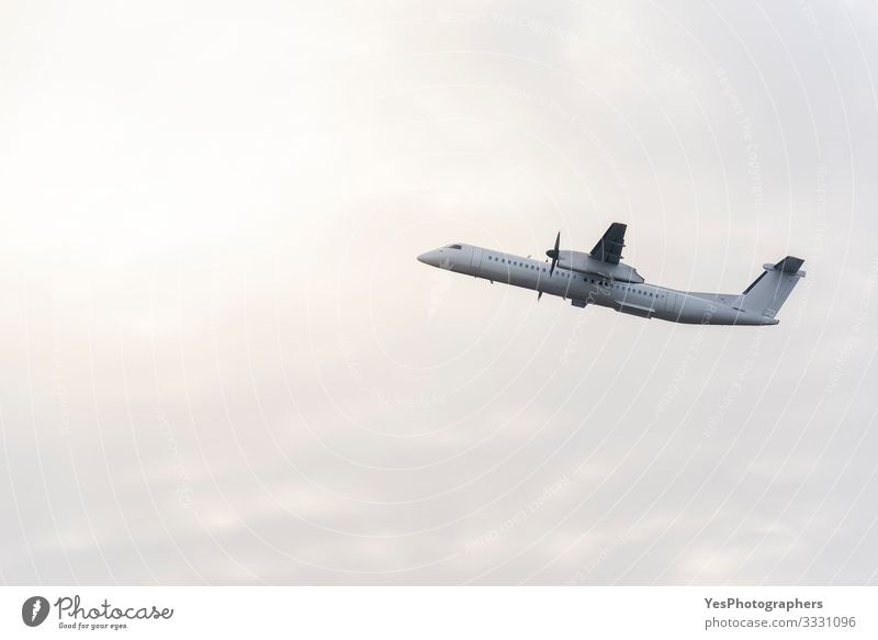 Passengers airplane flying in the sky. White aircraft in the air Vacation & Travel Tourism Sun Aviation Beautiful weather Transport Public transit Airplane