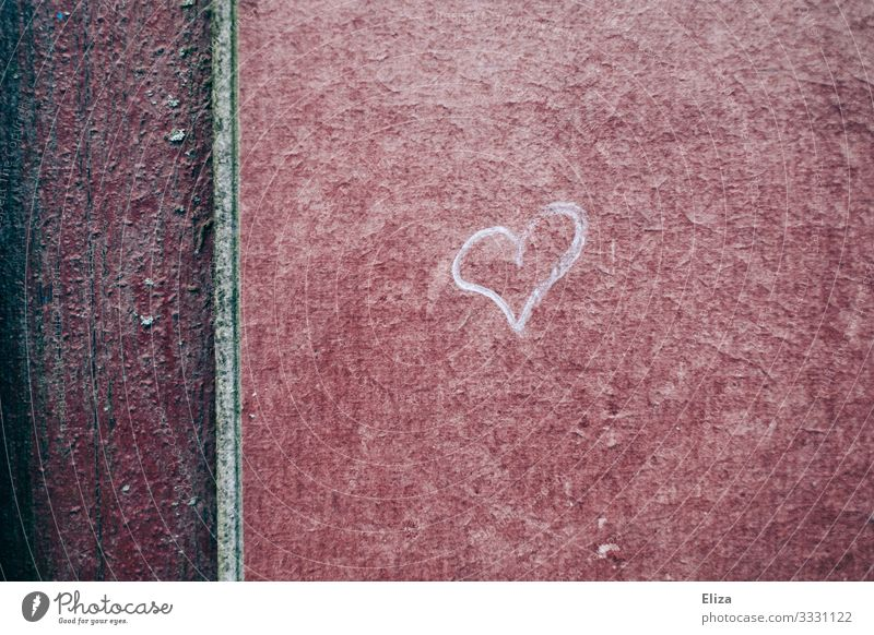 Small heart of chalk on a house wall Heart urban Chalk Painted texture Red structure symbol Love Wall (building)