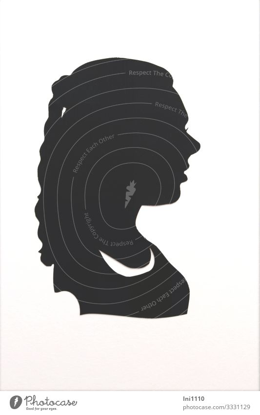 Silhouette of a young woman with ponytail Paper Souvenir Black White Woman Ponytail Profile Claw Craft (trade) Memory Craftsman Black & white photo