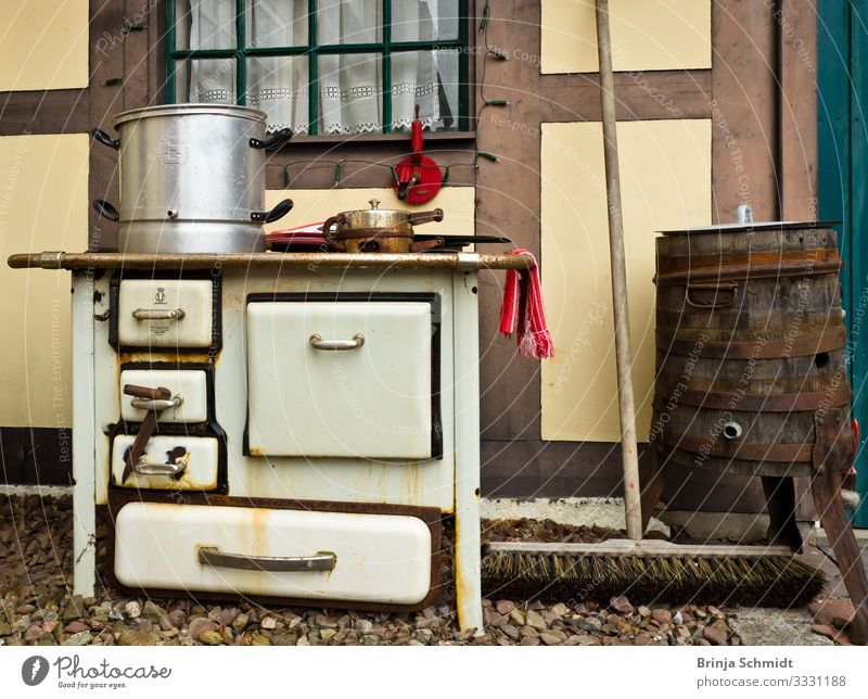 An old fashioned oven, vintage and rusty Interior design Decoration Kitchen Stove & Oven Eating Old Hot Hip & trendy Historic Retro Multicoloured White