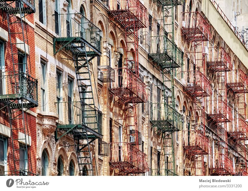 Manhattan old residential buildings with fire escapes, New York. Sightseeing City trip Flat (apartment) House (Residential Structure) House building Town