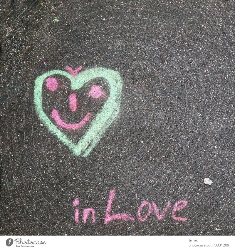 soulful Love Loyalty Connection token of love oath faithful Sign symbol metaphor Heart Asphalt Street writing graffiti Drawing Face