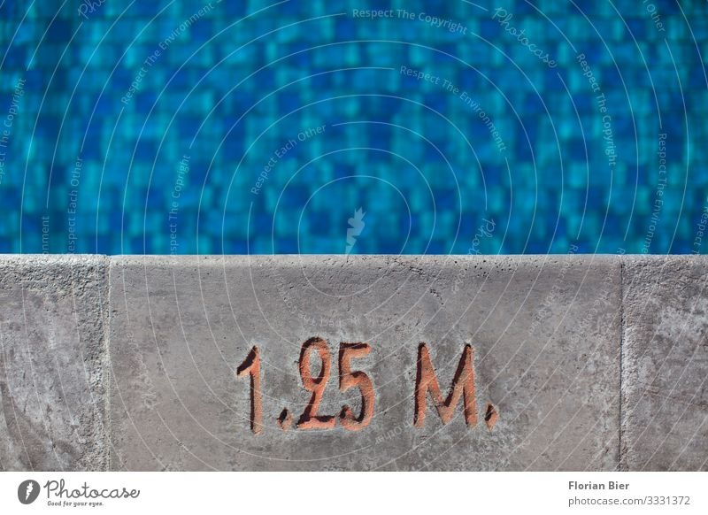 non-swimmer Swimming pool Swimming & Bathing Non-swimmer Aquatics Pool attendant Workplace Concrete Water Digits and numbers Signs and labeling Signage