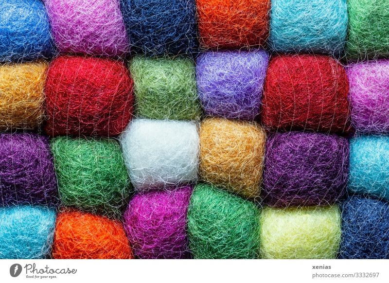 Colourful cuddly wool squares Wool Coaster Plastic Sharp-edged Soft Multicoloured Versatile Sewing thread Together Many xenias Square New wool Colour photo