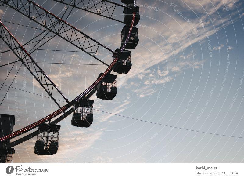 Ferris wheel Beautiful weather Genua Italy Free Brave Love Romance Joy Clouds Cloud formation Fairs & Carnivals Leisure and hobbies Blue Violet Landscape format