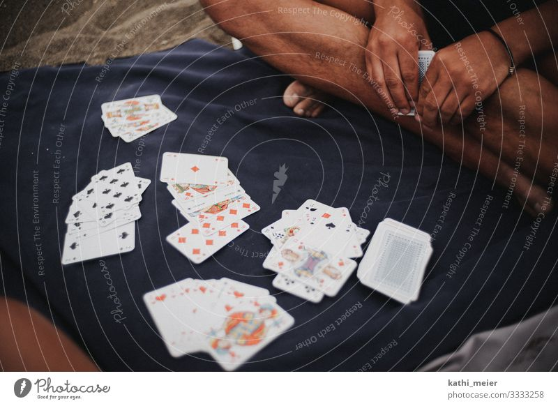 Rummy Hand Feet Playing rummy Playing card Game of cards Beach Beach life Leisure and hobbies Vacation & Travel Blue Success Boredom Joy Parlor games Ace