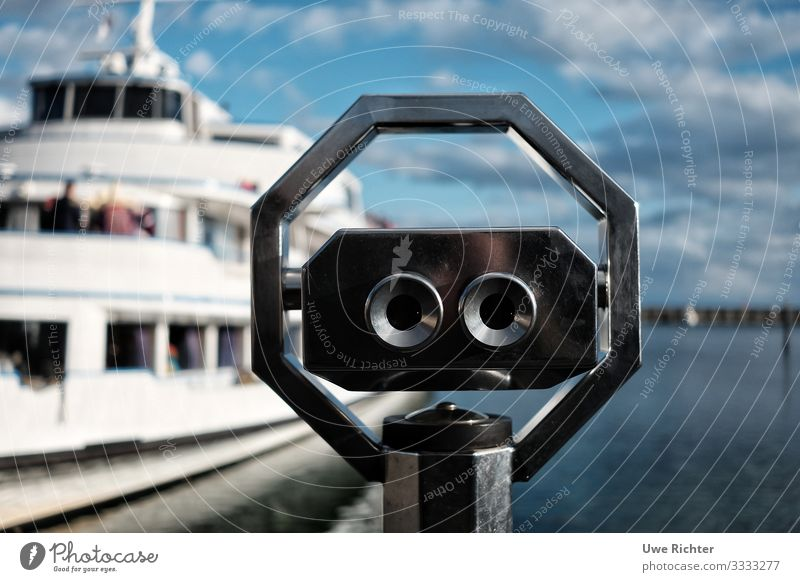 Telescope in front of ship and clouds Lifestyle Tourism Trip Cruise Summer vacation Transport Navigation Passenger ship Harbour Discover Experience