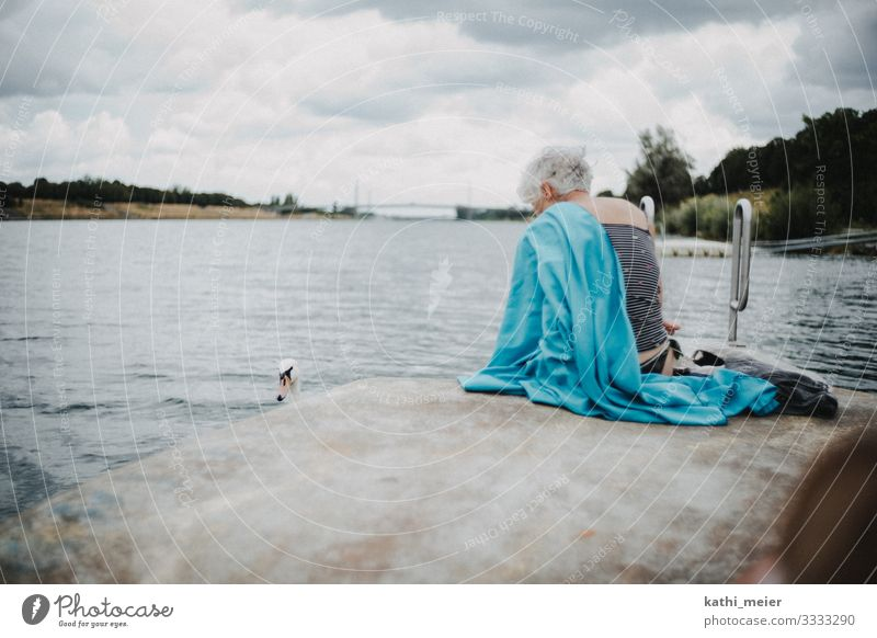 Bathing in Vienna Swimming & Bathing Summer vacation Waves Feminine Female senior Woman Senior citizen Life 60 years and older Climate Climate change River 1