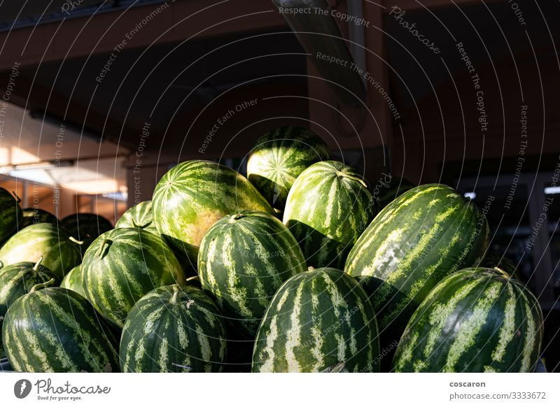 Lots of watermelons in a street market Food Vegetable Fruit Dessert Nutrition Organic produce Vegetarian diet Diet Design Healthy Eating Summer Garden Gardening