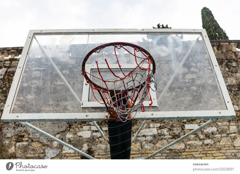 Old basket on a cloudy day. View from above Joy Relaxation Leisure and hobbies Playing Sports Sporting Complex School Sky Park Playground Street Wood Metal Rust