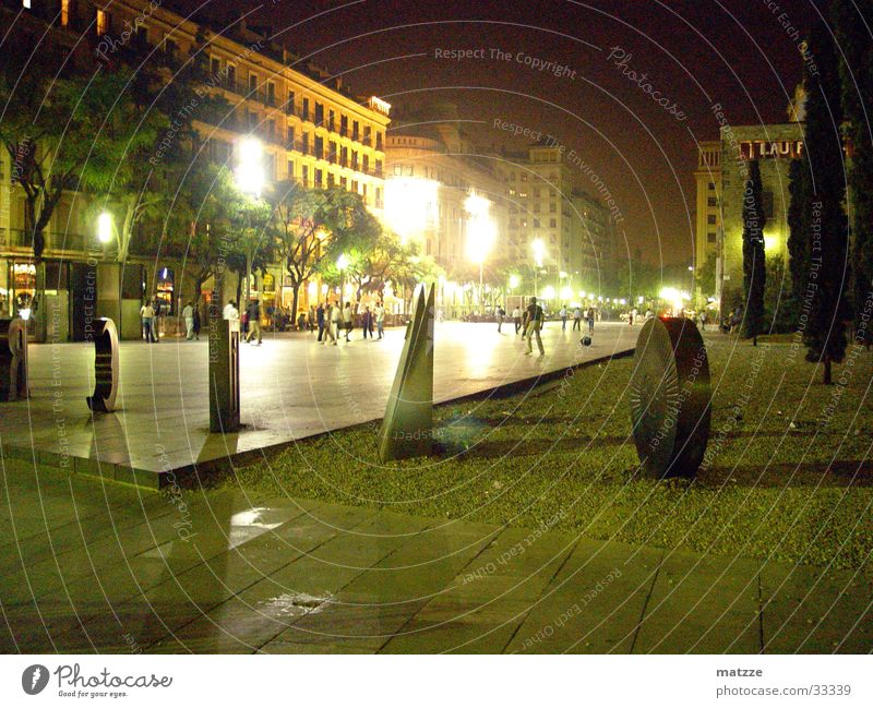 Barcelona by Night Europe Sculpture City light Human being Exterior shot Night shot