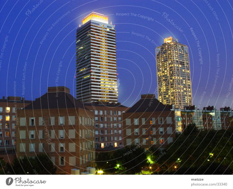 Building Lighting High-rise Europe Night sky Barcelona Vila Olimpica