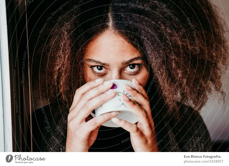 portrait of beautiful afro american young woman by the window drinking tea or coffee. Lifestyle indoors African-American Woman Coffee Home Ethnic