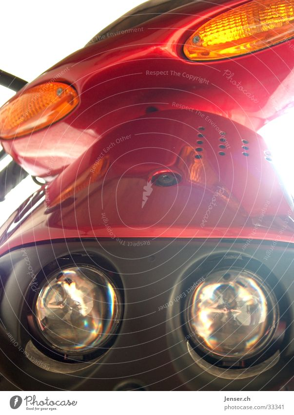 RED ROLLER Vehicle Red Means of transport Electrical equipment Technology Scooter Floodlight Joy
