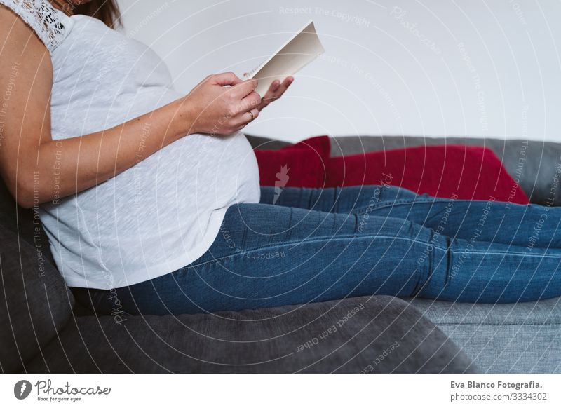 young pregnant woman at home reading a book Pregnant Woman Youth (Young adults) pregnancy Reading Book Home maternity Life Lounge Showing one's bellybutton