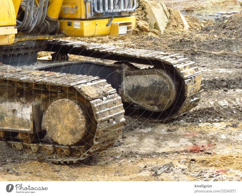 excavator Vehicle Excavator Build Broken Brown Yellow Logistics Change Tracked vehicle Construction site Dirty Colour photo Exterior shot Deserted