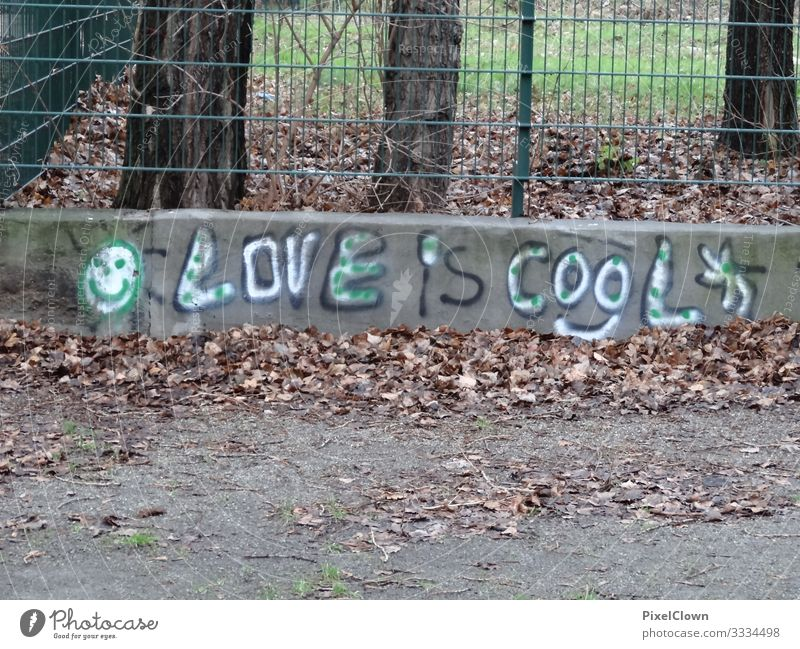 Graffiti in the big city Love Characters Colour photo Emotions Heart Wall (barrier) Infatuation