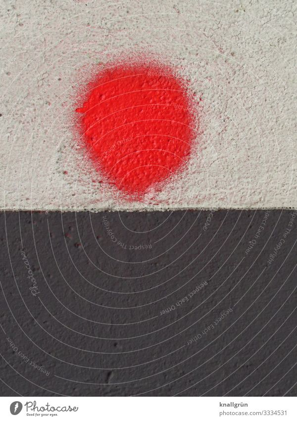 red dot House (Residential Structure) Wall (barrier) Wall (building) Graffiti Point Round Red Black White Colour Art Colour photo Exterior shot Deserted