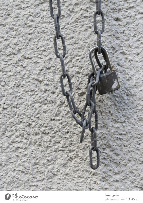 Padlock House (Residential Structure) Wall (barrier) Wall (building) Lock Hang Silver White Safety metal chain Colour photo Exterior shot Deserted