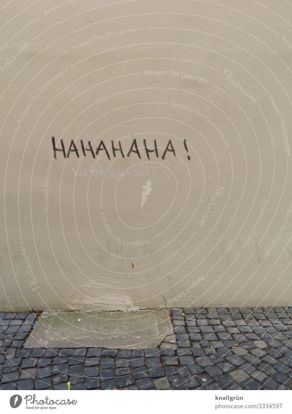 HAHAHAHA ! Town Wall (barrier) Wall (building) Graffiti Communicate Laughter Gray Black Emotions Joy Moody Cobblestones Colour photo Exterior shot Deserted