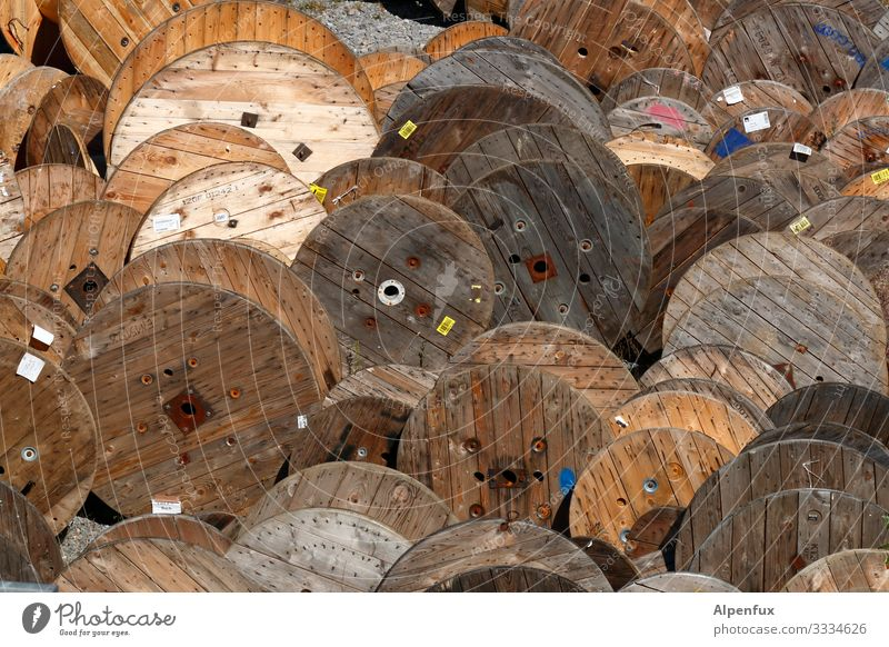 Role plays Energy industry cable drum Wood Lie Round Equal Uniqueness Logistics Coil Roleplay Drum Colour photo Exterior shot Deserted Long shot