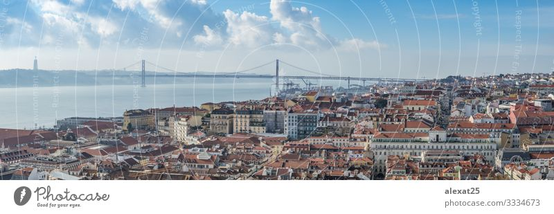 Panoramic view of Lisbon (Portugal) Vacation & Travel Tourism Summer 18 - 30 years Youth (Young adults) Adults Landscape Sky River Downtown Skyline Bridge