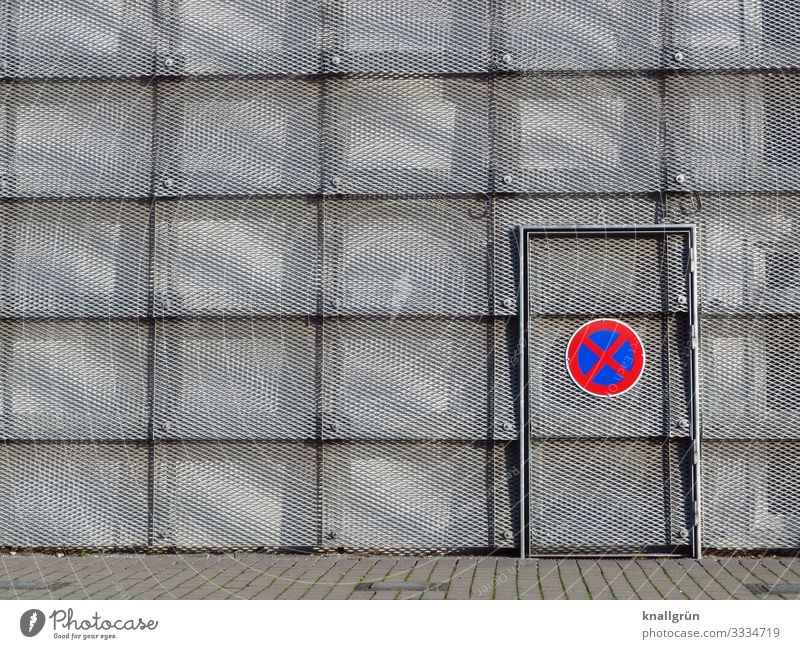 ABSOLUTES Stopping prohibition Hall Facade Door Sign Signs and labeling Road sign Communicate Round Town Blue Gray Red Silver Design Arrangement Safety Bans