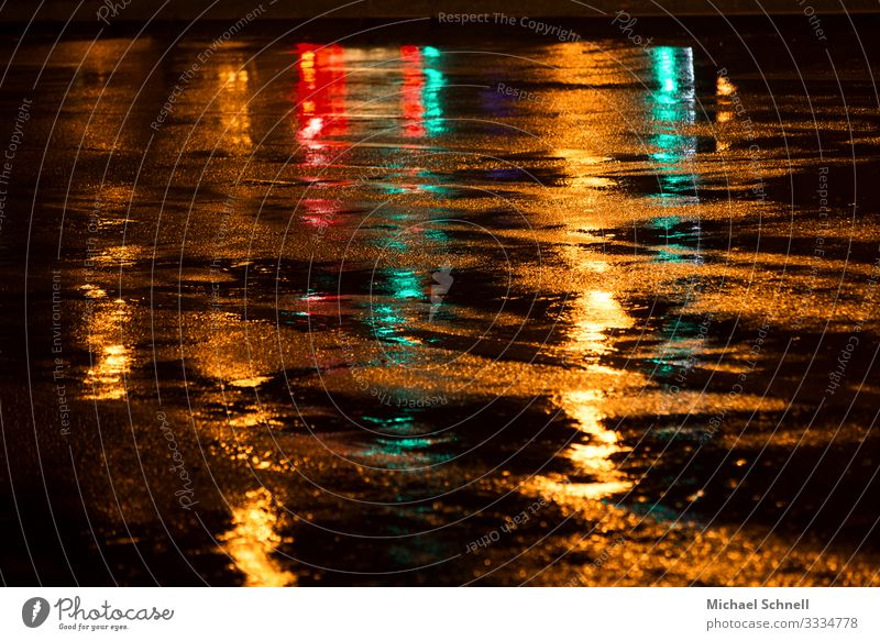 Rain wet Weather Bad weather Street Traffic light Green Red Colour photo Multicoloured Exterior shot Evening Reflection