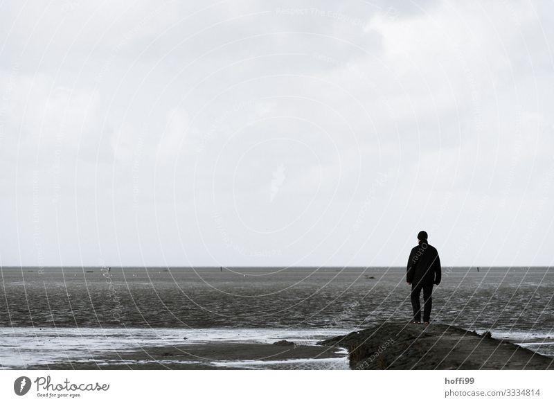 Human being Sky Nature Ocean Loneliness Winter Beach Adults Autumn Coast Freedom Horizon Masculine Island Stand Wait