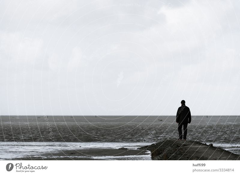in winter at the Meee Beach Ocean Island Masculine 1 Human being 30 - 45 years Adults Sky Autumn Winter Bad weather Coast North Sea Observe Stand Wait Longing