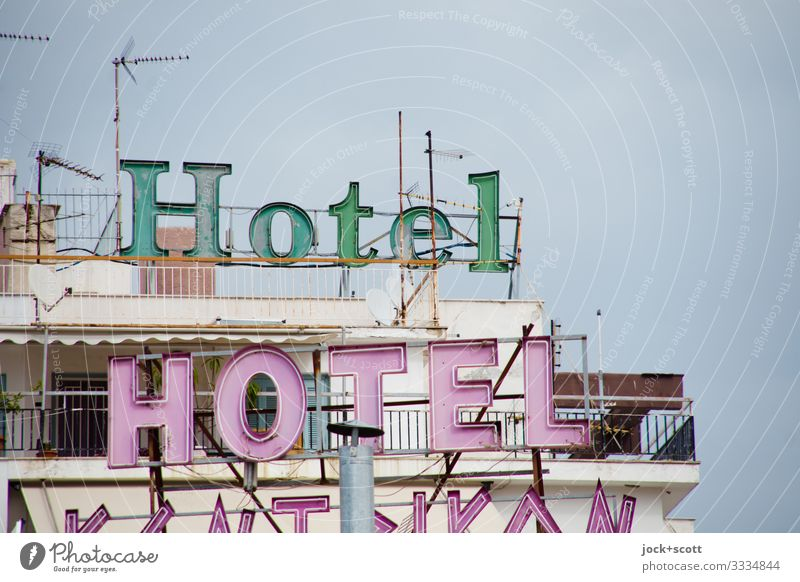 Hotel Hotel Vacation & Travel Sky Greece Balcony Chimney Antenna Flat roof Above Design Target Typography Ravages of time Vacation destination