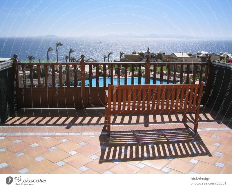 sunbed Vacation & Travel Lanzarote Ocean Swimming pool Hotel Summer Bench terrace Sun Shadow Blue sky
