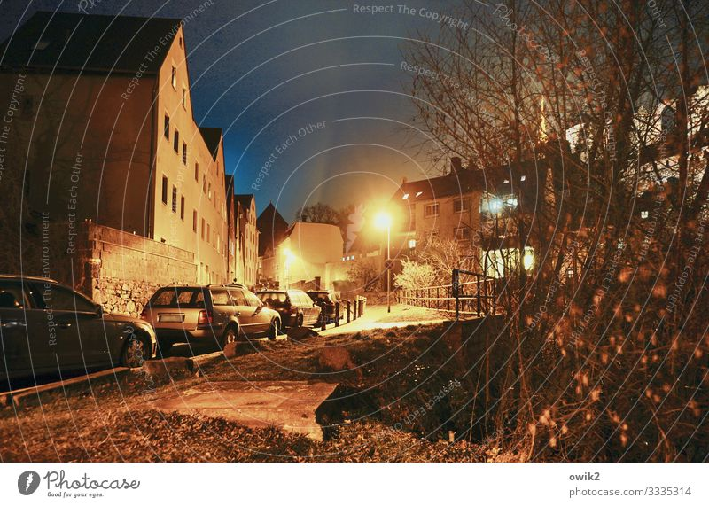 tell off Earth Cloudless sky Night sky Tree Bushes Bautzen Germany Small Town Downtown Populated House (Residential Structure) Window Street Parking Car