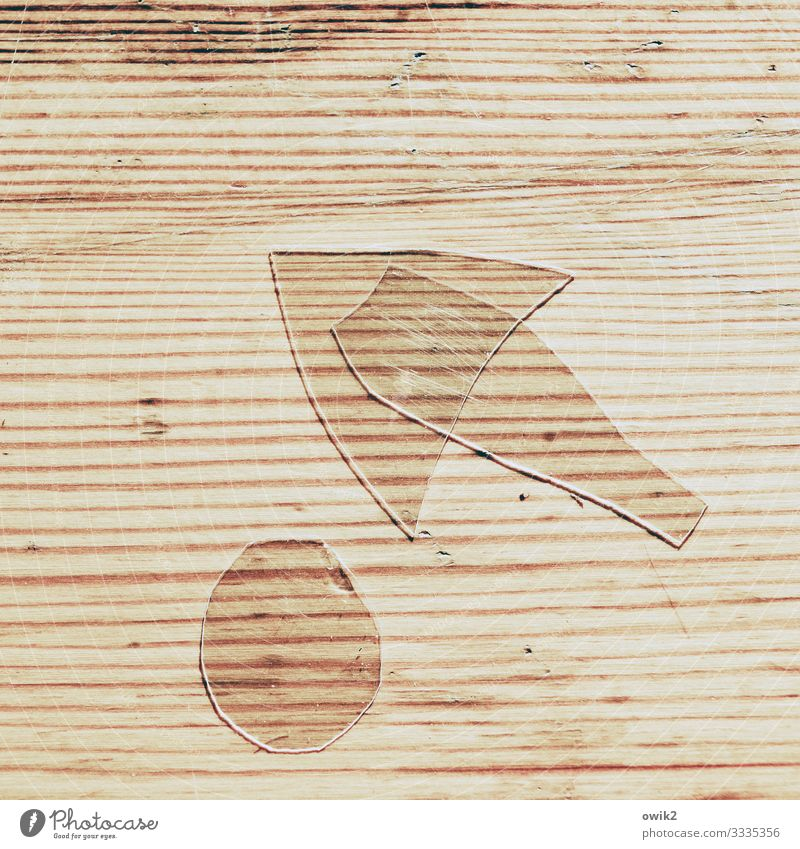 Situation Part Wood grain Tabletop Glass Sign Arrow Lie Thin Sharp-edged Small Round Point 3 Transparent Unclear Puzzle Colour photo Close-up Detail Abstract
