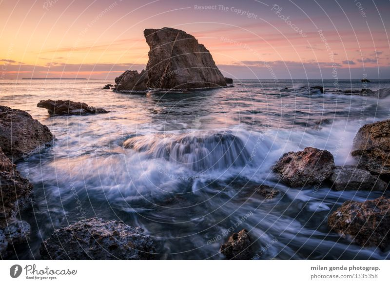 Crete. Beach Ocean Nature Rock Coast Moody Europe Mediterranean Greece Greek Lasithi Kalo Nero seascape sea stack Morning Sunrise Sunset Long exposure