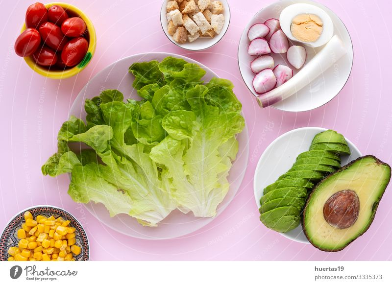 lettuce salad with tomato, cheese and vegetables Food Cheese Vegetable Nutrition Vegetarian diet Diet Bowl Healthy Eating Fresh Green Pink Salad Tomato corn