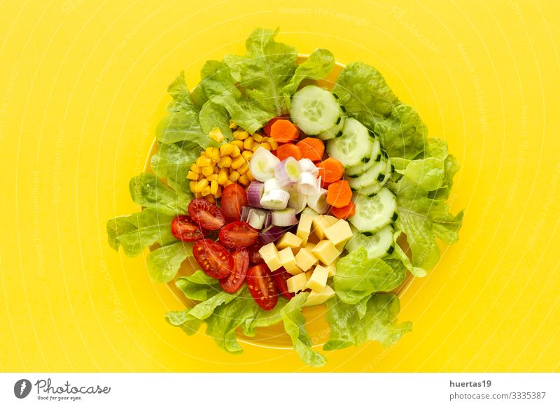 lettuce salad with tomato, cheese and vegetables Food Cheese Vegetable Lettuce Salad Nutrition Vegetarian diet Diet Bowl Healthy Eating Fresh Yellow Green