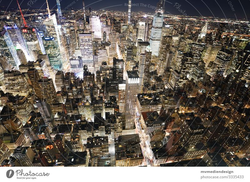 View of New York's urban canyons at night canyons of houses New York City Night shot Times Square Transport Road traffic Street