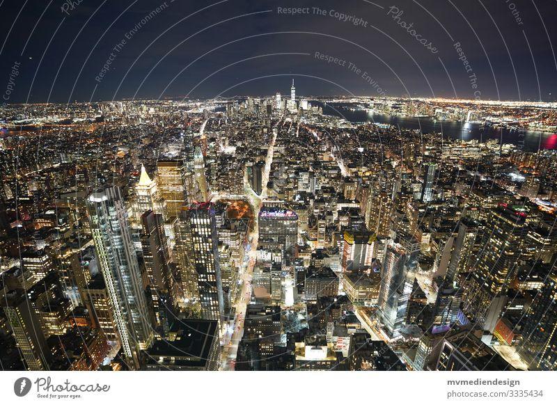 View of Manhattan by night New York City USA High-rise Town Skyline Americas City life Landmark Night shot Transport at night clearer Sea of light