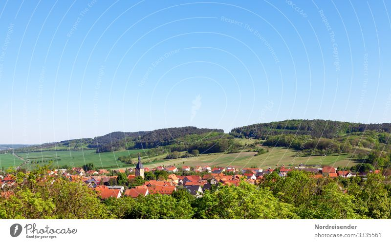 Rural idyll in Germany Vacation & Travel Tourism Trip Nature Landscape Cloudless sky Summer Beautiful weather Meadow Field Forest Hill Village