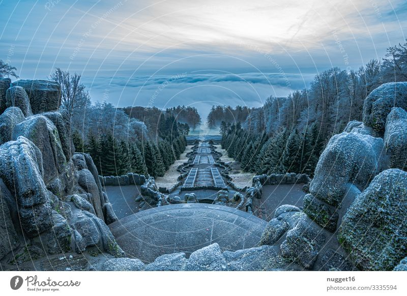 Mountain park Kassel Environment Nature Landscape Sky Clouds Sunrise Sunset Winter Weather Fog Ice Frost Snow Town Manmade structures Architecture