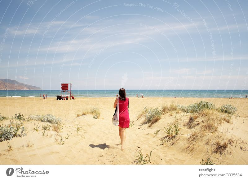 go on a virtual vacation Beach Ocean Ease warm Bright Sand Mediterranean sea Nature Environment Red Blue Woman Human being Going To enjoy