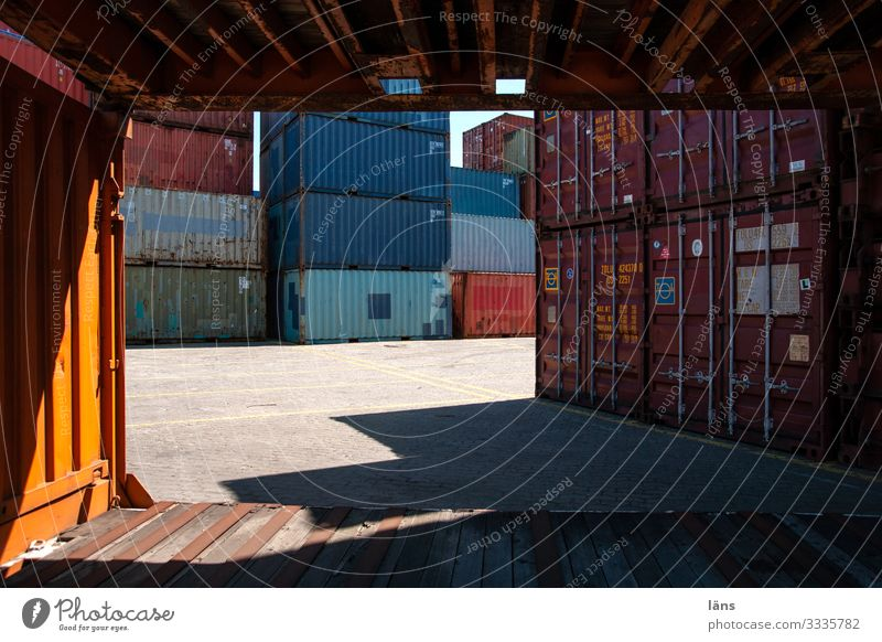 logistics Trade Logistics Services Lanes & trails Navigation Container Candle Metal Stagnating Desire Port of Hamburg Stack Cosmopolitan Colour photo