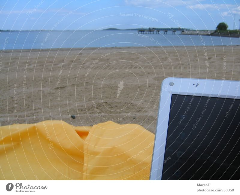 Ocean Beach Yellow Relaxation Computer Transport Notebook Information Technology