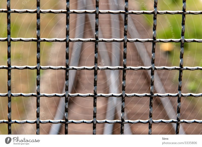 Separation lines Transport Traffic infrastructure Rail transport Railroad system Metal Protection Hamburg Grating Switch Connection Together Divide Colour photo